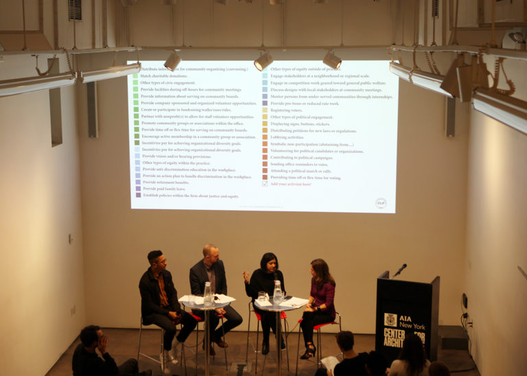 Civic Impact in Practice panel at the Center for Architecture. Image credit: Center for Architecture.