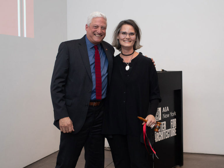 2018 President Guy Geier, FAIA, IIDA, LEED AP, handed the gavel to incoming 2019 President Hayes Slade, AIA. Image credit: Angie Vasquez.