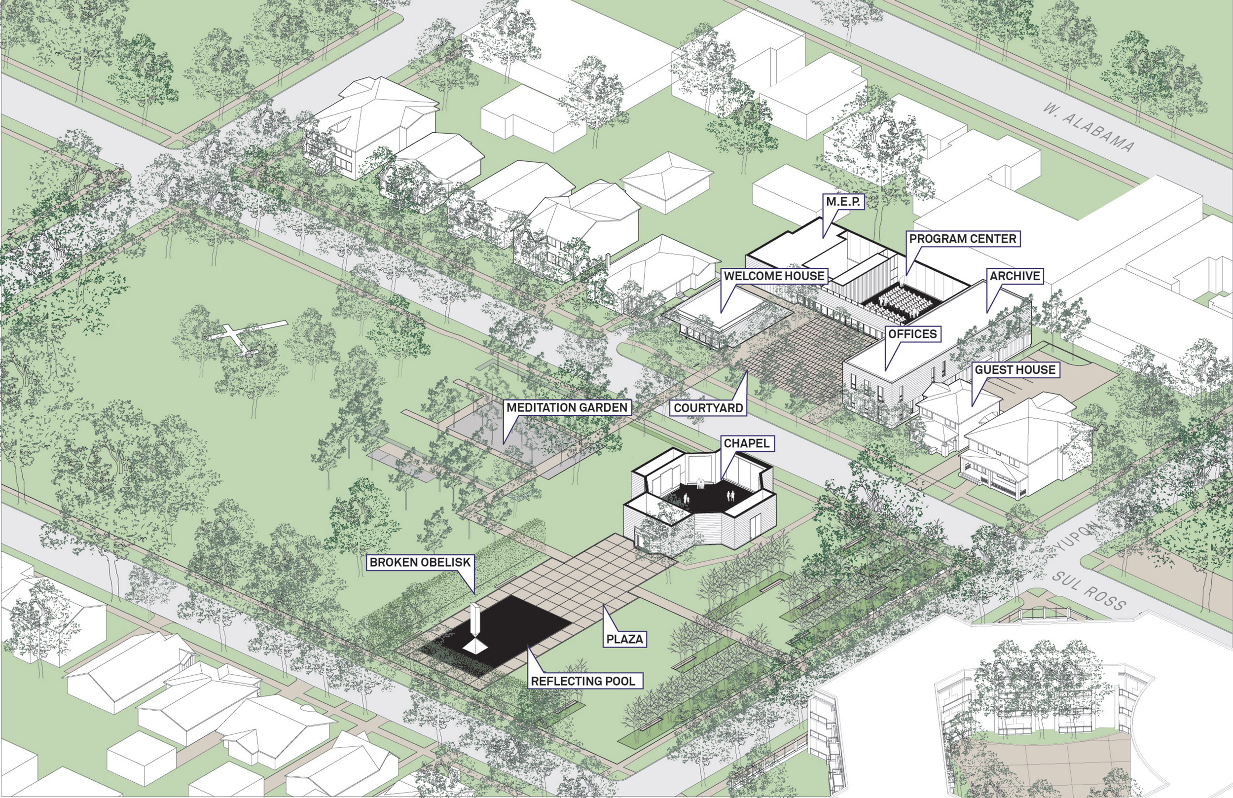 Projects Merit Award: A New Campus for the Rothko Chapel, by Architecture Research Office and Nelson Byrd Woltz Landscape Architects, in Houston, TX. Rendering: Architecture Research Office.