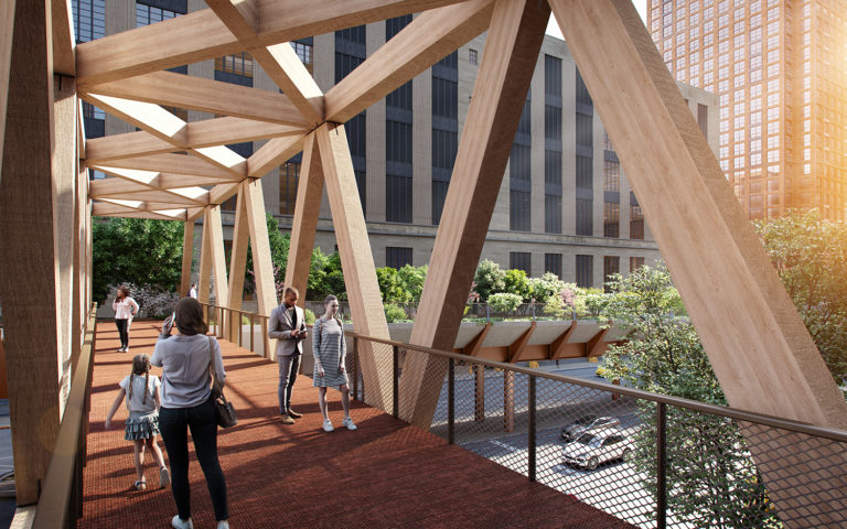Rendering of the High Line to Moynihan Train Hall Connector, showing the timber pedestrian bridge.